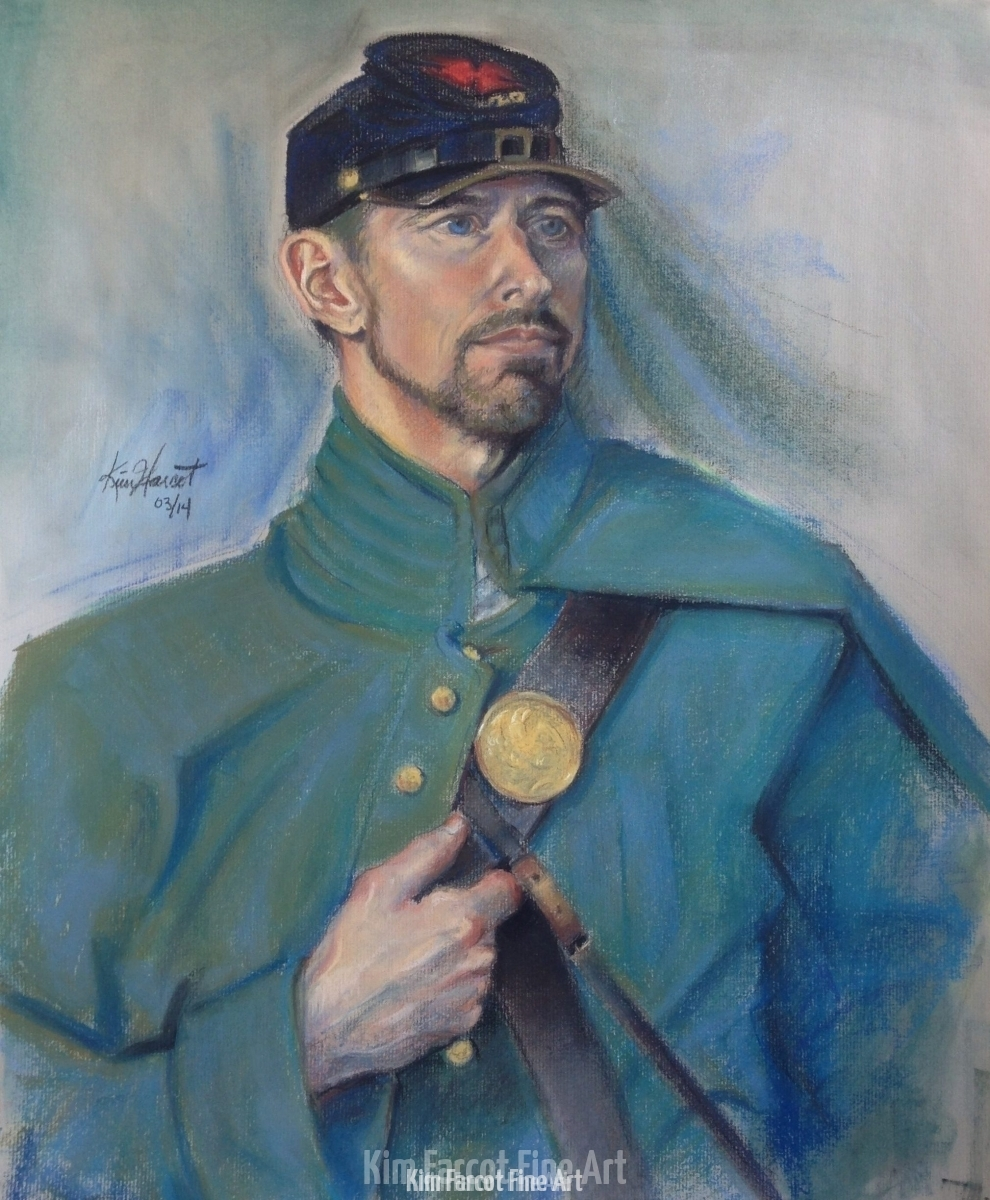 Civil War Soldier, pastel, available