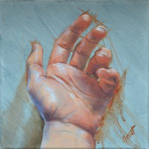 "Relaxed Hand, oil 8""x8"", available"