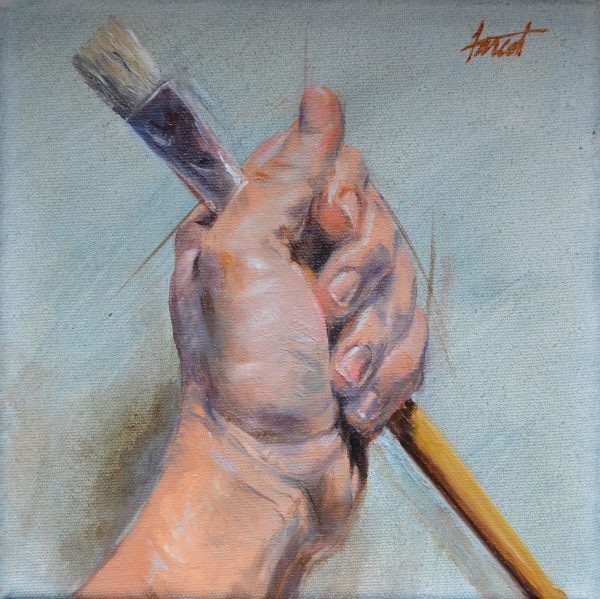 "Artist's Hand, oil, 8""x8"", private collection, Saudi Arabia"