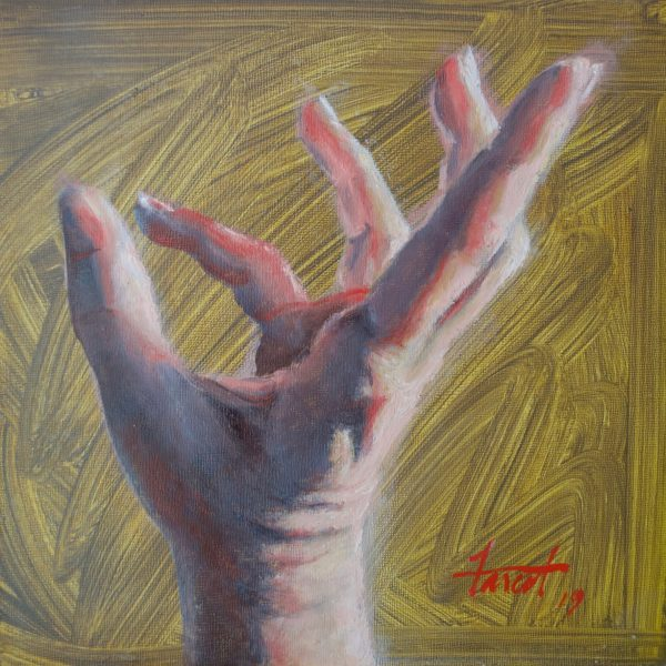 "Reach Higher, oil, 8""x8"", available"