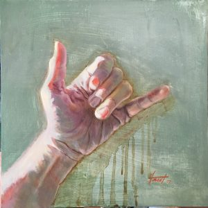 "Hang Loose, oil, 12""x12"", available"