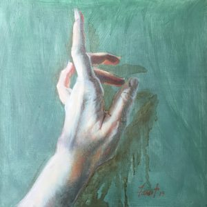 "Gesture, oil, 12""x12"", available"