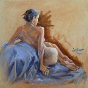"Sarah on Blue, oil 18""x18"""
